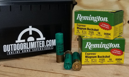 "Remington 12 Gauge Ammunition Express Magnum Buckshot 1235HB0015 3-1/2"" 00 Buck 18 Pellets 1125fps 15 Rounds"