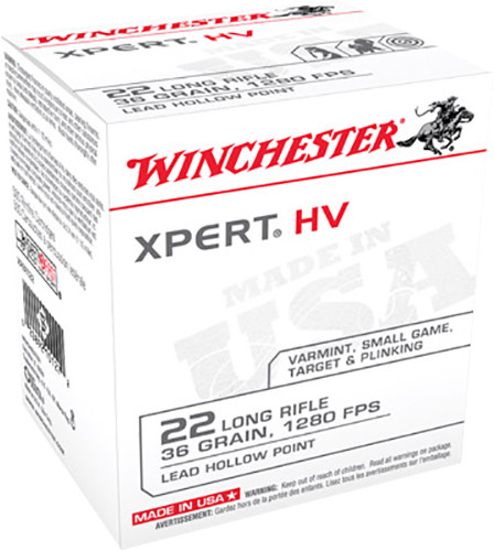 Winchester 22 LR Ammunition XPERT HV 36 Grain Lead Hollow Point Bulk Pack of 500 Rounds