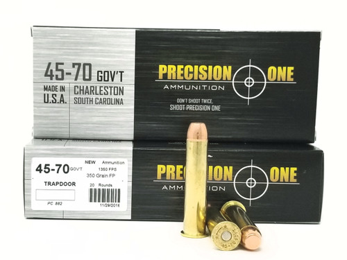 Precision One 45-70 Ammunition Trapdoor Version PONE882 350 Grain Flat Point 20 Rounds