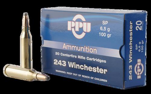 Prvi PPU 243 Win Ammunition PP2432 100 Grain Soft point 20 Rounds