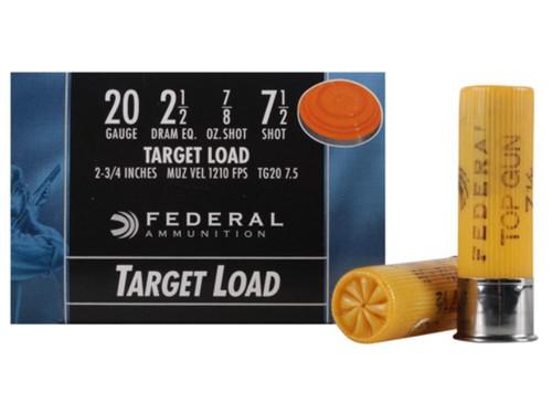 "Federal 20 Gauge Ammunition Top Gun TG2075 2-3/4"" #7.5 7/8 oz 1210fps 25 rounds"