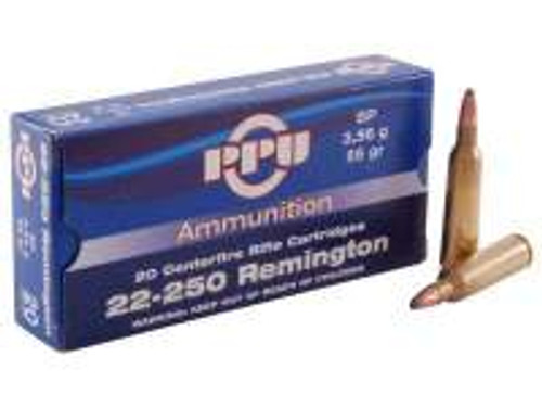 Prvi PPU 22-250 Rem Ammunition Standard Rifle PP22250 55 Grain Soft Point 20 Rounds