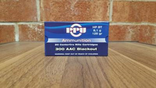Prvi PPU 300 AAC Blackout Ammunition PP300BH 125 Grain Hollow Point Boat Tail 20 Rounds