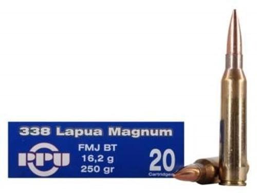 Prvi PPU 338 Lapua Mag Ammunition PP338F 250 Grain Full Metal Jacket 10 Rounds