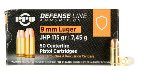 Prvi PPU 9mm Luger Ammunition Defense PPD91 115 Grain Jacketed Hollow Point 50 Rounds