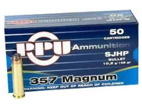 Prvi PPU 357 Mag Ammunition PPH357MH 158 Grain Semi-Jacketed Hollow Point 50 Rounds