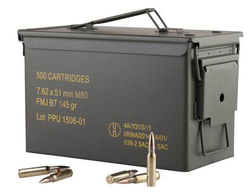 Prvi PPU 7.62x51mm M80 Ammunition PPN762MC 145 Grain Full Metal Jacket Ammo Can 500 Rounds