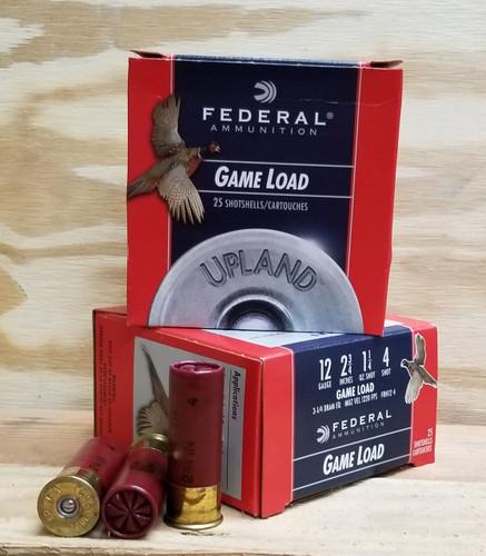 """Federal 12 Gauge Ammunition Upland FRH124 2-3/4"""" 4 Shot 1-1/4oz 1220fps Case of 250 Rounds"""