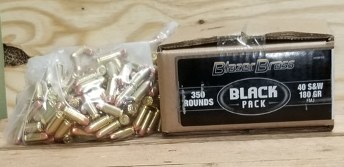 CCI 40 S&W Ammunition Blazer Brass Black Pack 5220BF350 180 Grain Full Metal Jacket Flat Nose Bulk Pack 350 Rounds