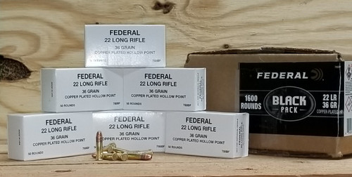 Federal 22LR Ammunition Black Pack 788BF 36 Grain Copper Plated Hollow Bulk Pack of 1600 Rounds
