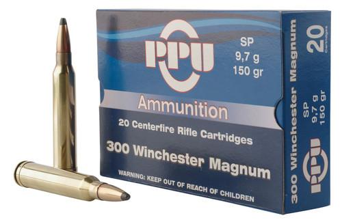 Prvi PPU 300 Win Mag Ammunition PP3001 150 Grain Soft Point 20 Rounds