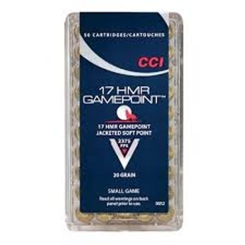 CCI 17 HMR Ammunition Gamepoint 0052 20 Grain Jacketed Soft Point Brick of 500 Rounds