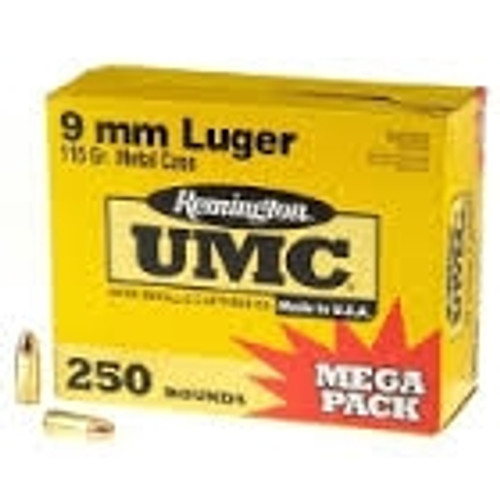 Remington 9mm Ammunition Mega Pack L9MM3A 115 Grain Full Metal Jacket Case of 1000 Rounds