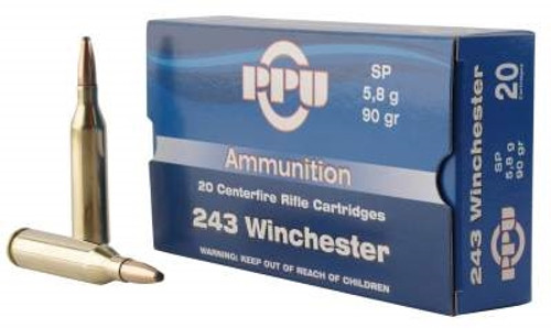 Prvi PPU 243 Win Ammunition PP2431 90 Grain Soft point Case of 200 Rounds