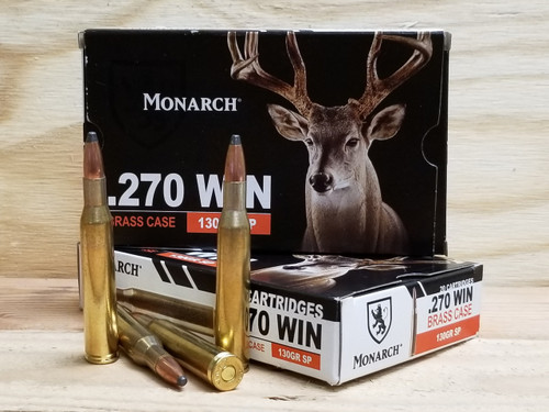 Monarch 270 Win Ammunition 130 Grain Soft Point 20 Rounds