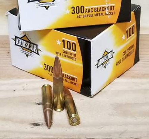 Armscor 300 AAC Blackout Ammunition FAC300AAC100 147 Grain Full Metal Jacket Case of 1200 Rounds