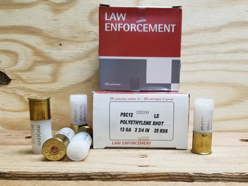 Rio 12 Gauge Ammunition PSC12 Less Lethal Polyethylene Shot 0.11oz 1775fps 25 Rounds