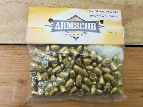 Armscor 380 Auto/.355 Reloading Bullets 52244 95 Grain Full Metal Jacket 100 Pieces