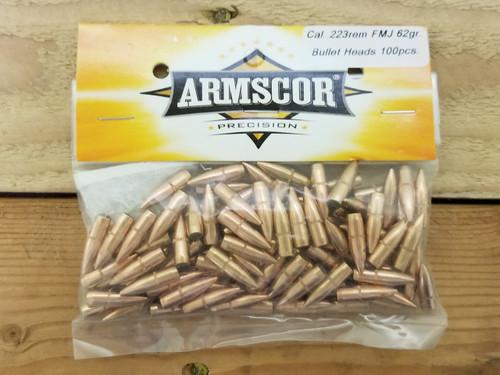 Armscor 223 Rem/.224 Reloading Bullets 52340 62 Grain Full Metal Jacket 100 Pieces