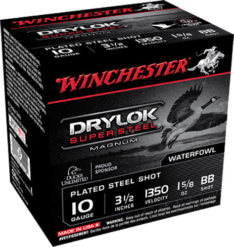 "Winchester 10 Gauge Ammunition Drylok Steel XSC10BB 3-1/2"" BB Shot 1-5/8oz 1350fps 25 Rounds"