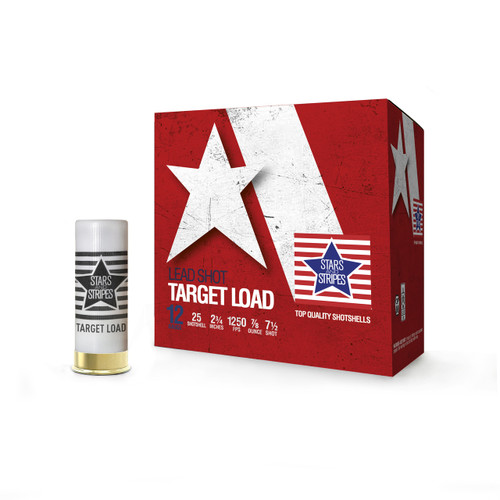 "Stars and Stripes 12 Gauge Ammunition Target Loads CT12475 2-3/4"" 7.5 Shot 7/8oz 1250fps Case of 250 Rounds"