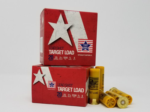 "Stars and Stripes 20 Gauge Ammunition Target Loads CT82408 2-3/4"" 8 Shot 7/8oz 1200fps Case of 250 Rounds"