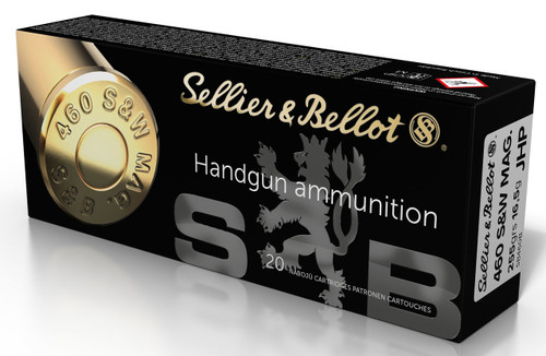 Sellier & Bellet 460 S&W Mag Ammunition SB460B 255 Grain Jacketed Hollow Point 20 Rounds