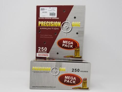 Precision One 223 Rem Ammunition *Seconds* 917 55 Grain V-Max Mega Pack of 250 Rounds