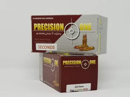 Precision One 223 Rem Ammunition *Seconds* 916 55 Grain V-Max 50 Rounds