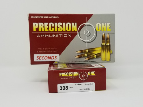 Precision One 308 Win Ammunition REMAN *Seconds* 912 150 Grain Full Metal Jacket 20 Rounds