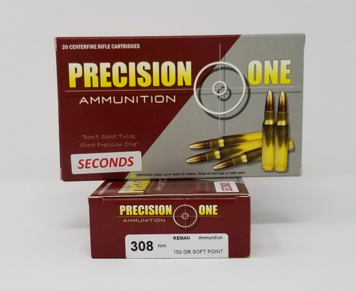Precision One 308 Win Ammunition REMAN *Seconds* 910 150 Grain Soft Point 20 Rounds