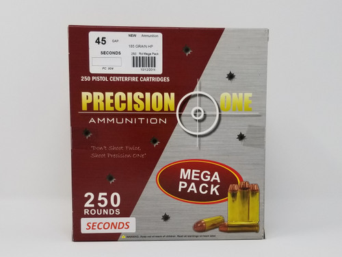 Precision One 45 GAP Ammunition *Seconds* 904 185 Grain Hollow Point Mega Pack of 250 Rounds