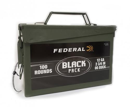 "Federal 12 Gauge Ammunition Black Pack BF12700AC1 2-3/4"" 9 Pellet 00 Buck 1325fps Metal Can of 100 Rounds"