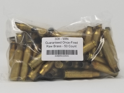 308 Win Brass Castings Once Fired Raw Not Washed 50 Pieces