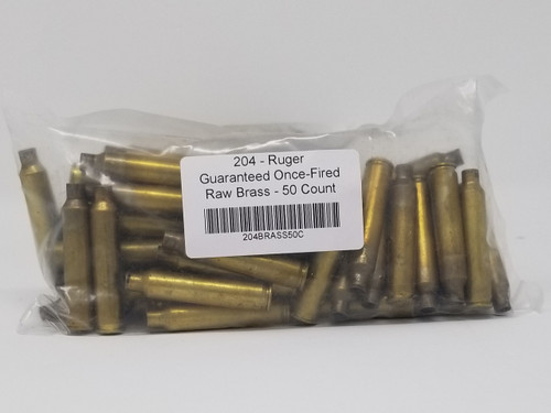 204 Ruger Brass Castings Once Fired Raw Not Washed 50 Pieces