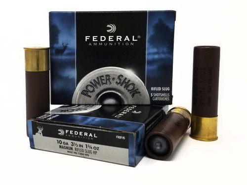 "Federal 10 Gauge Ammunition Power-Shok F103FRS 3-1/2"" Slug 1-3/4oz 1280fps 5 Rounds"