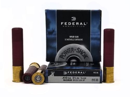 """Federal 410 Gauge Ammunition Power-Shok F412RS 2-1/2"""" Slug 1/4oz 1775fps 5 Rounds"""