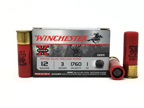 "Winchester 12 Gauge Ammunition Super-X X123RS15VP 3"" Slug 1oz 1760fps 15 Rounds"