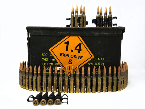 Belgian Surplus 7.62x51 Ammunition AM2953 142 Grain Full Metal Jacket (Linked) Can of 400 Rounds