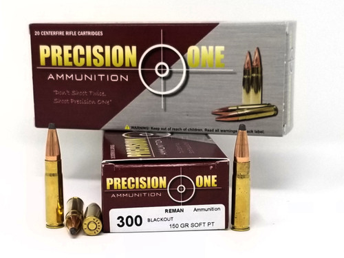 Precision One 300 AAC Blackout Ammunition 150 Gr Soft Point REMAN 20 Rounds