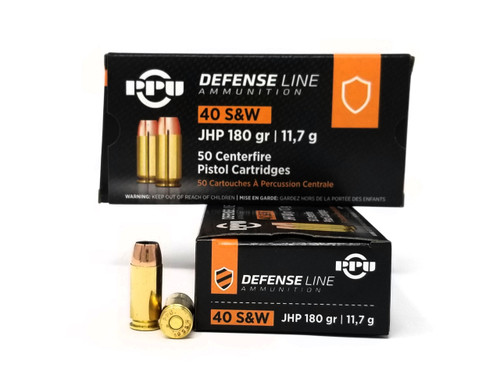 Prvi PPU 40 S&W Ammunition Defense PPD40 180 Grain Jacketed Hollow Point 50 Rounds