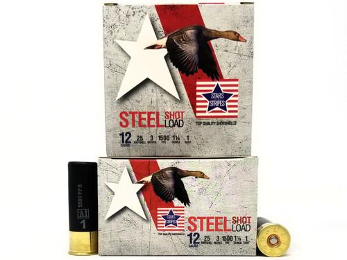 "Stars and Stripes 12 Gauge CS33201 3"" #1 Shot 1-1/8 oz 1500FPS Case of 250 Rounds"