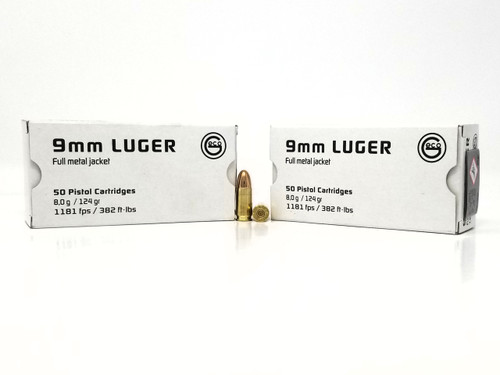Geco 9mm Ammunition 220340050 124 Grain Full Metal Jacket 50 Rounds