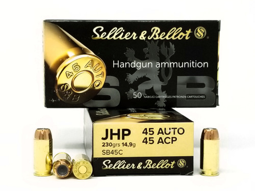 Sellier & Bellot 45 ACP Ammunition SB45C 230 Grain Jacketed Hollow Point 50 Rounds