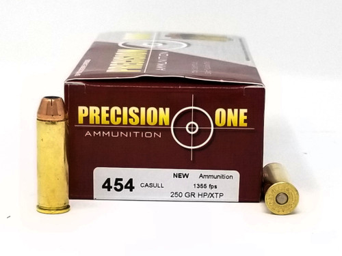 Precision One 454 Casull Ammunition 250 Grain XTP Jacketed Hollow Point Case of 500 Rounds