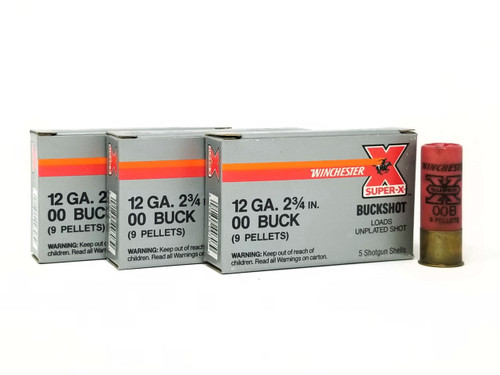 "Winchester 12 Gauge Ammunition Super-X XB1200 *Police Trade in* 2-3/4"" 00 Buck 9Pellets 1325fps 5 Rounds"