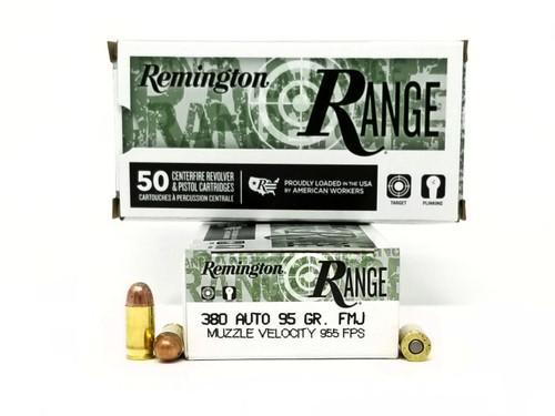 Remington 380 Auto Ammunition Range T380AP 95 Grain Full Metal Jacket 50 Rounds