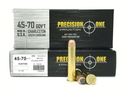 Precision One 45-70 Ammunition 350 Grain Flat Soft Point Case of 200 Rounds
