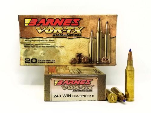 Barnes 243 Win Ammunition Vor-Tx 21522 80 Grain Ballistic Tip 20 Rounds