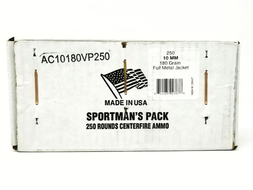 Armscor 10mm Ammunition Sportsman's Pack 180 Grain Full Metal Jacket Pack of 250 Rounds